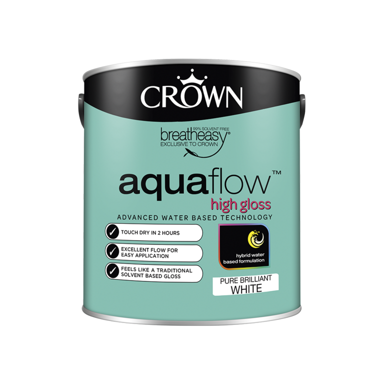 Crown Aquaflow Gloss 2.5L - Pure Brilliant White