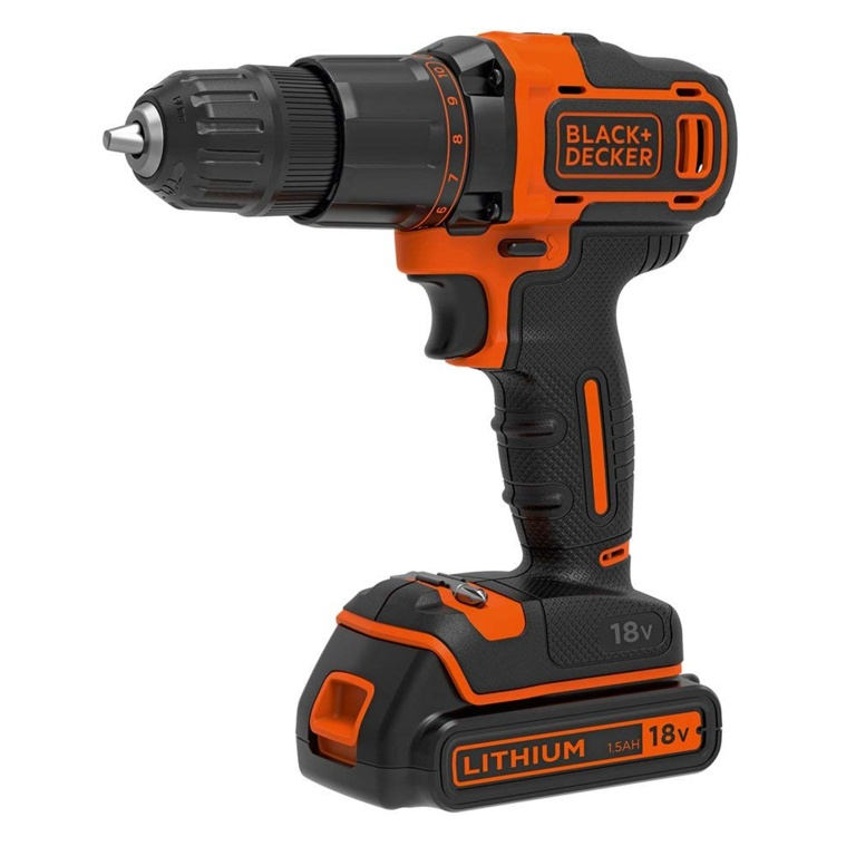 Black & Decker 18V Lithium-ion 2 Gear Hammer Drill + 400mA charger + 1 battery + Kitbox
