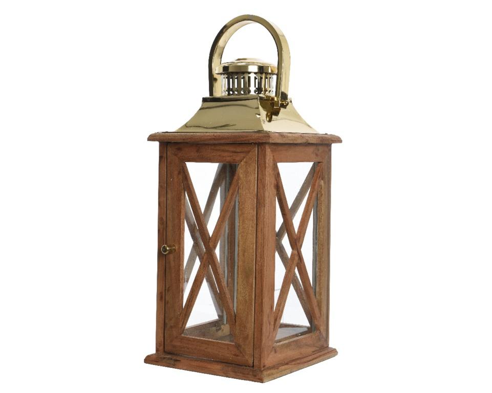 Kaemingk Sheesham Brown & Gold Wood Lantern - 27x27x53