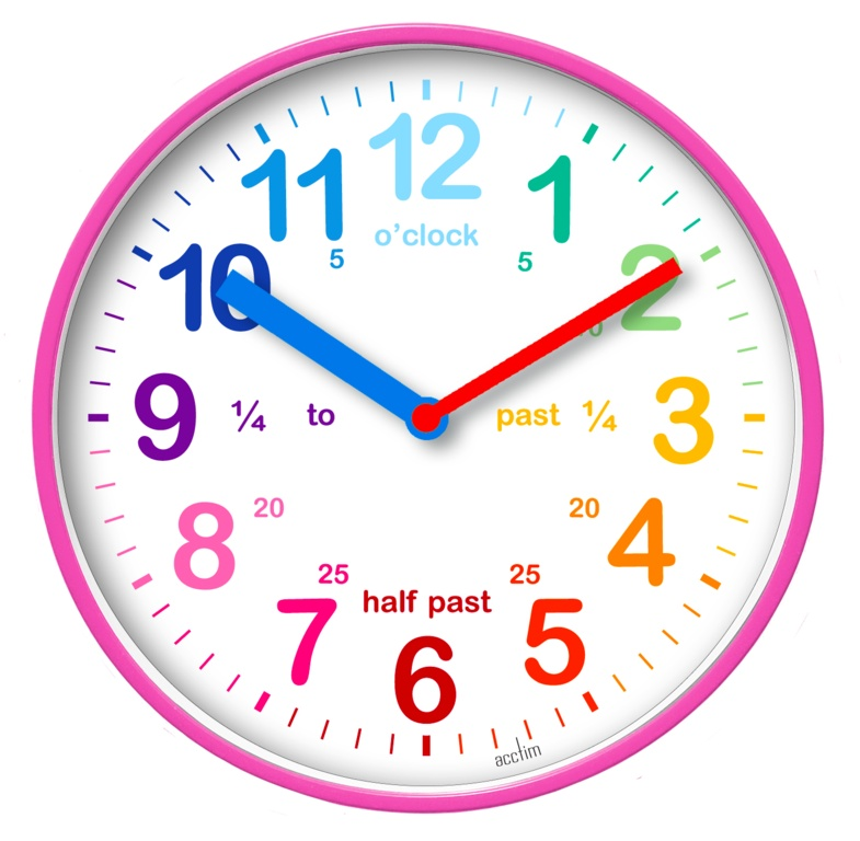 Acctim Wickford Kids Time Teach Clock 20cm - Pink