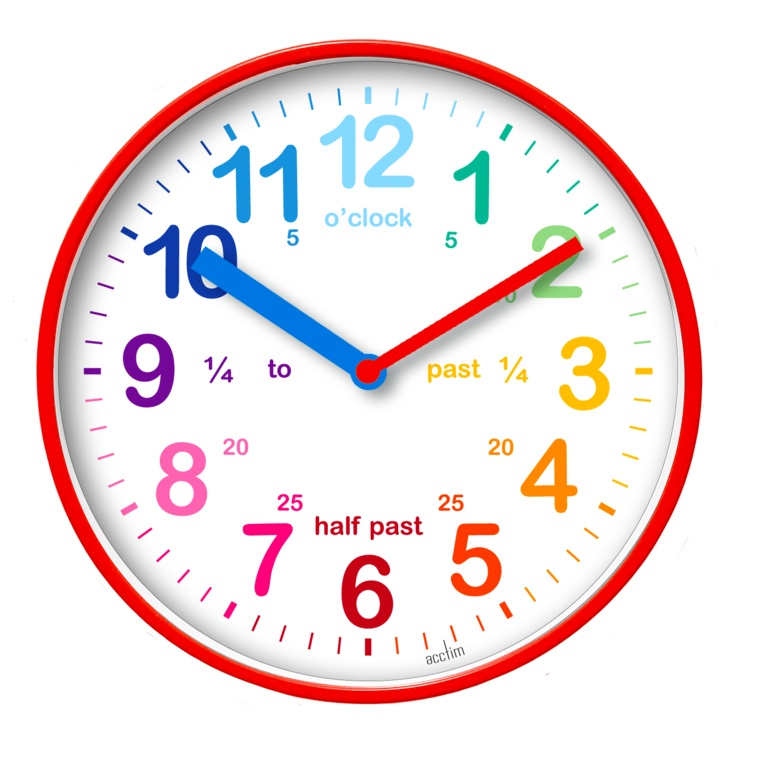 Acctim Wickford Kids Time Teach Clock 20cm - Red