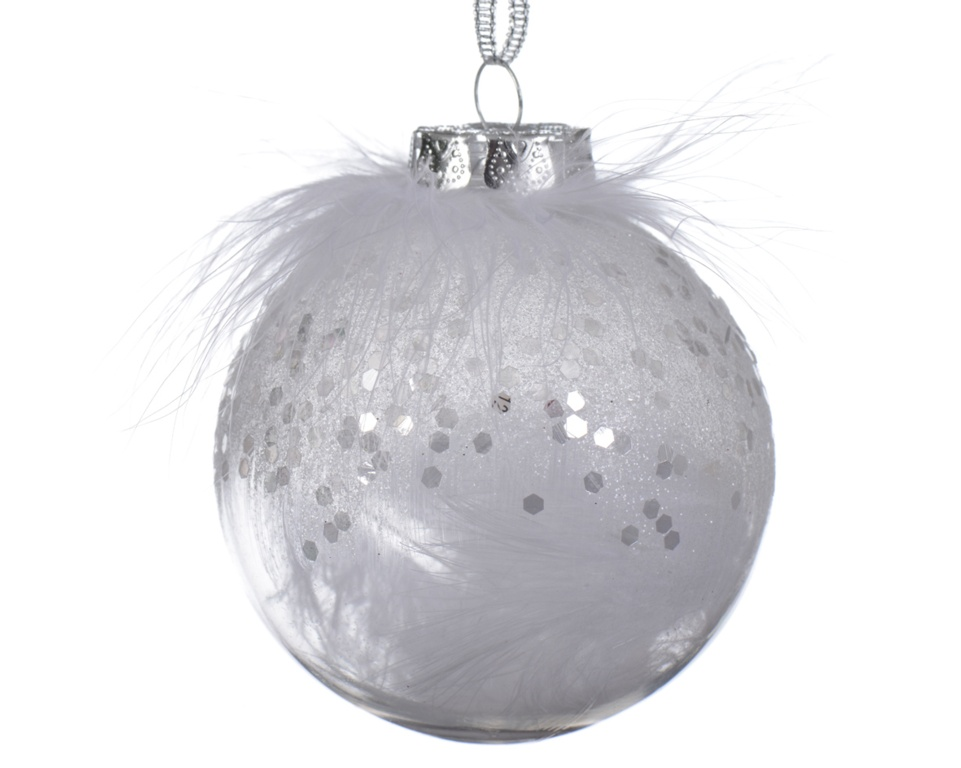 Deco Shatterproof Baubles - 8cm Feather White