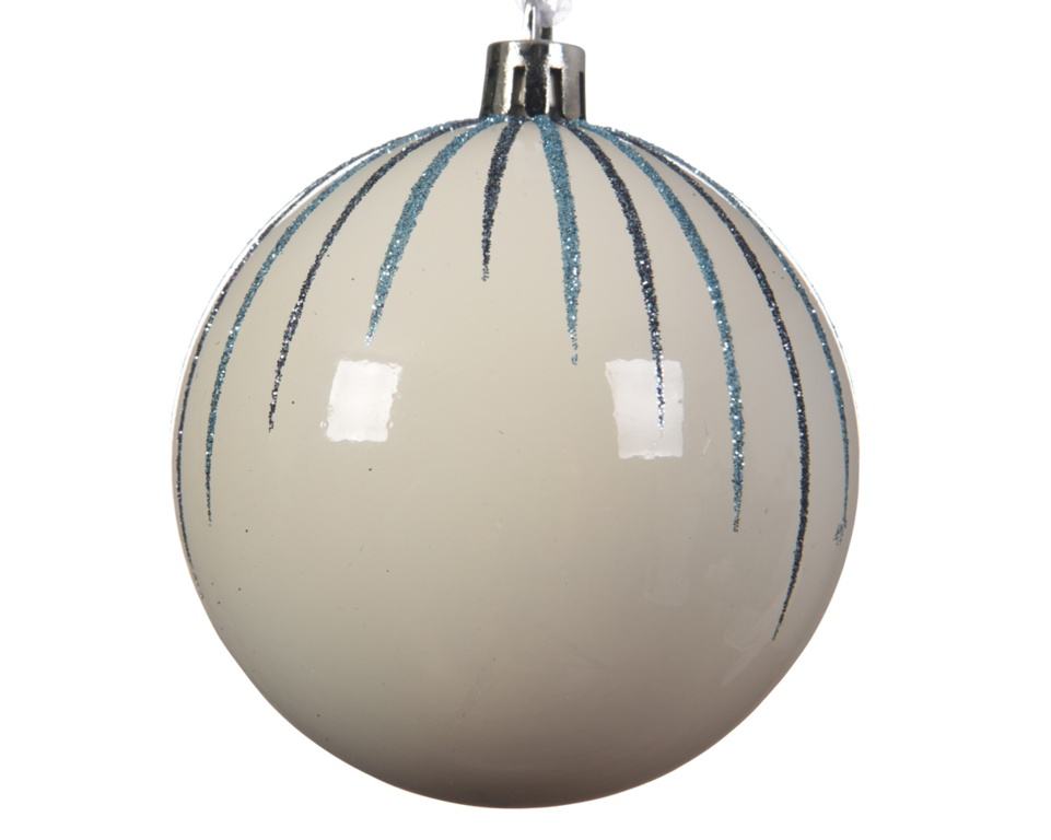 Deco Shatterproof Baubles - 8cm Stripes Wool White