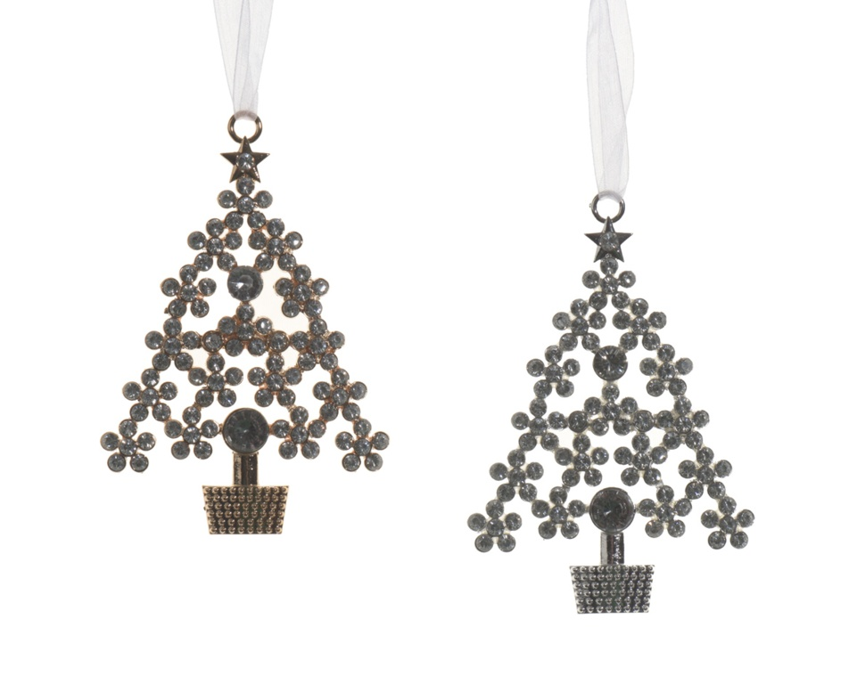 Deco Alloy Tree With Straus - 6.5x10