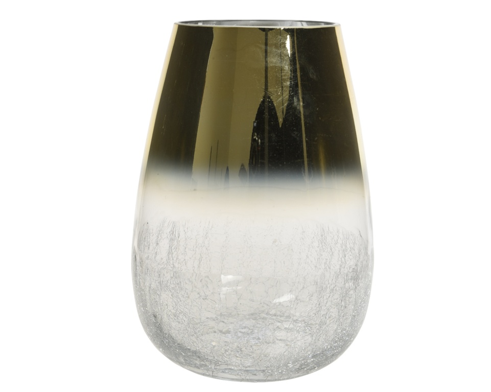 Deco Glitter Hurricane Glass With Crackle Bottom - 20 x 26 Gold