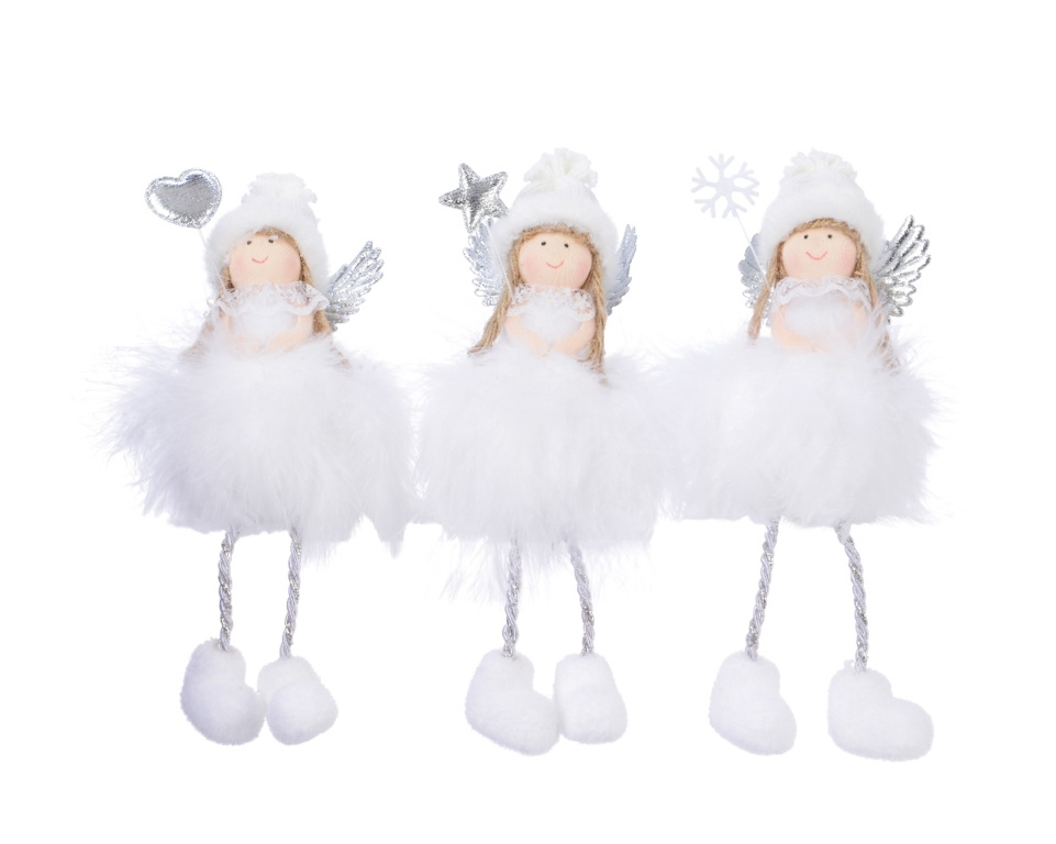 Deco Feather Angel With Hanger - White