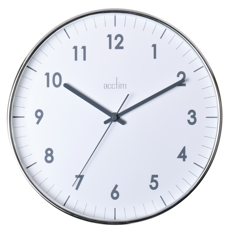 Acctim Jenson Chromed Wall Clock - 30cm