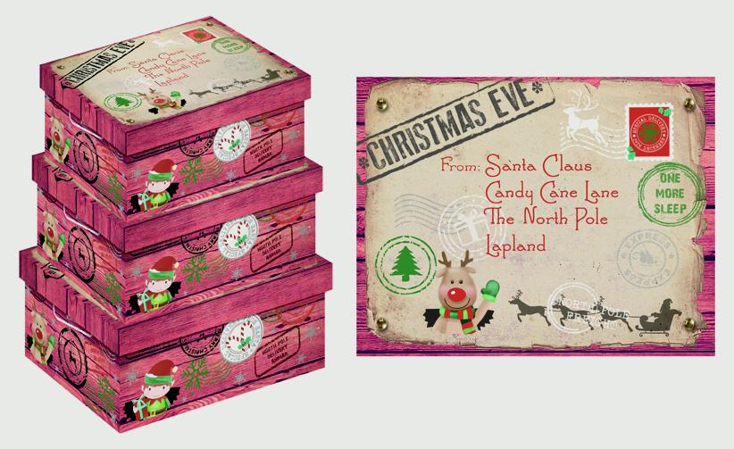 North Pole Christmas Eve Oblong Boxes - Set of 3