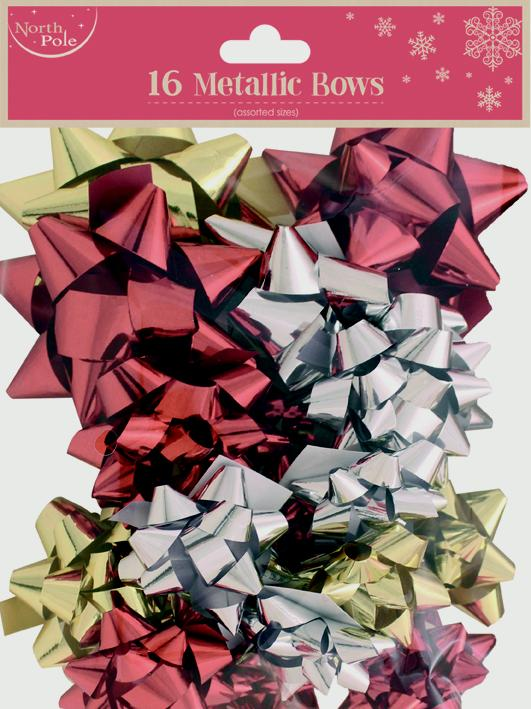 North Pole Metallic Mixed Bows - Pack 16