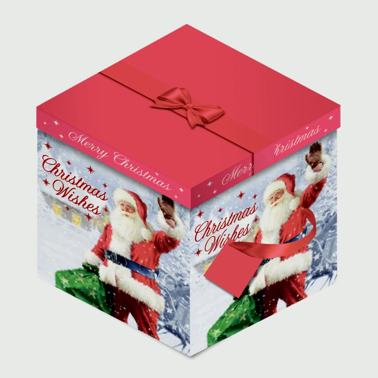 North Pole Square Flat Box - Traditional Santa