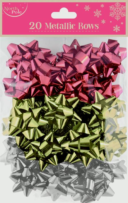 North Pole Metallic Mixed Bows - Pack 20