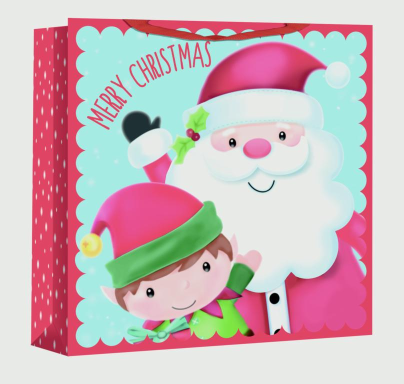 North Pole Jumbo Square Gift Bag - Santa & Elf