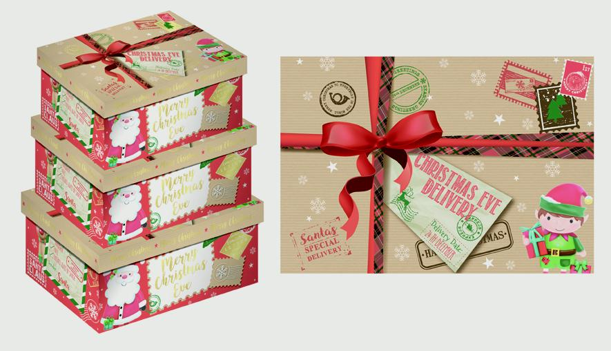 North Pole Christmas Eve Oblong Boxes - 3 Piece