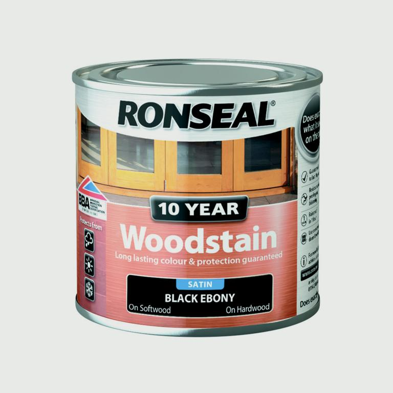 Ronseal 10 Year Woodstain Satin 250ml - Ebony