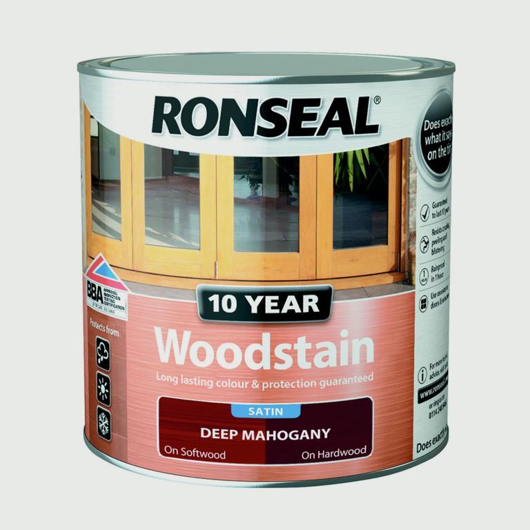 Ronseal 10 Year Woodstain Satin 250ml - Deep Mahogany