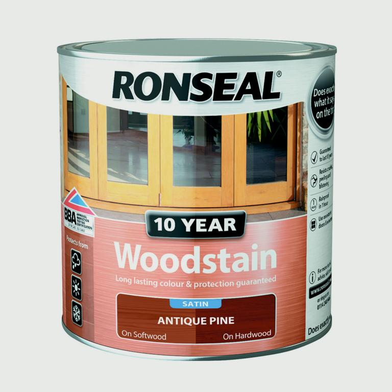 Ronseal 10 Year Woodstain Satin 250ml - Antique Pine