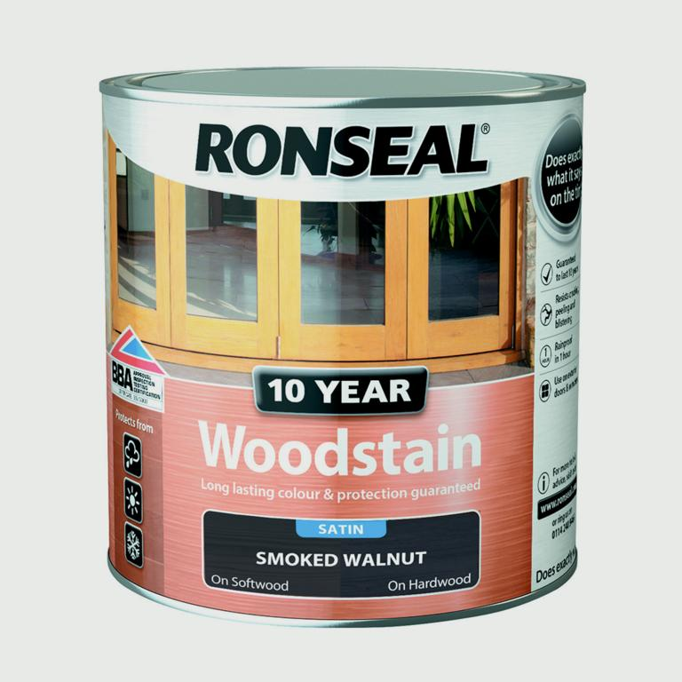 Ronseal 10 Year Woodstain Satin 750ml - Smoked Walnut