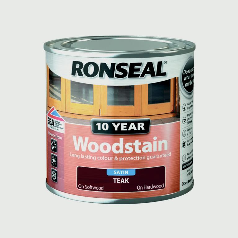 Ronseal 10 Year Woodstain Satin 250ml - Teak