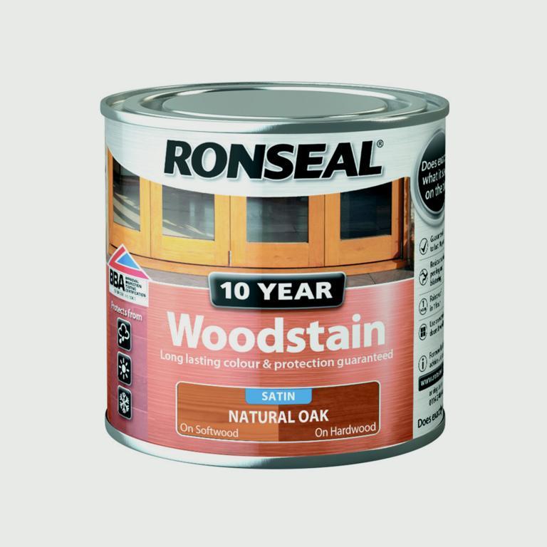 Ronseal 10 Year Woodstain Satin 250ml - Natural Oak