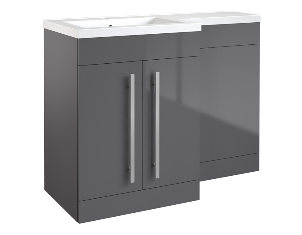 Kvit Matrix 2 Door Basin Unit Gloss Grey - 600mm