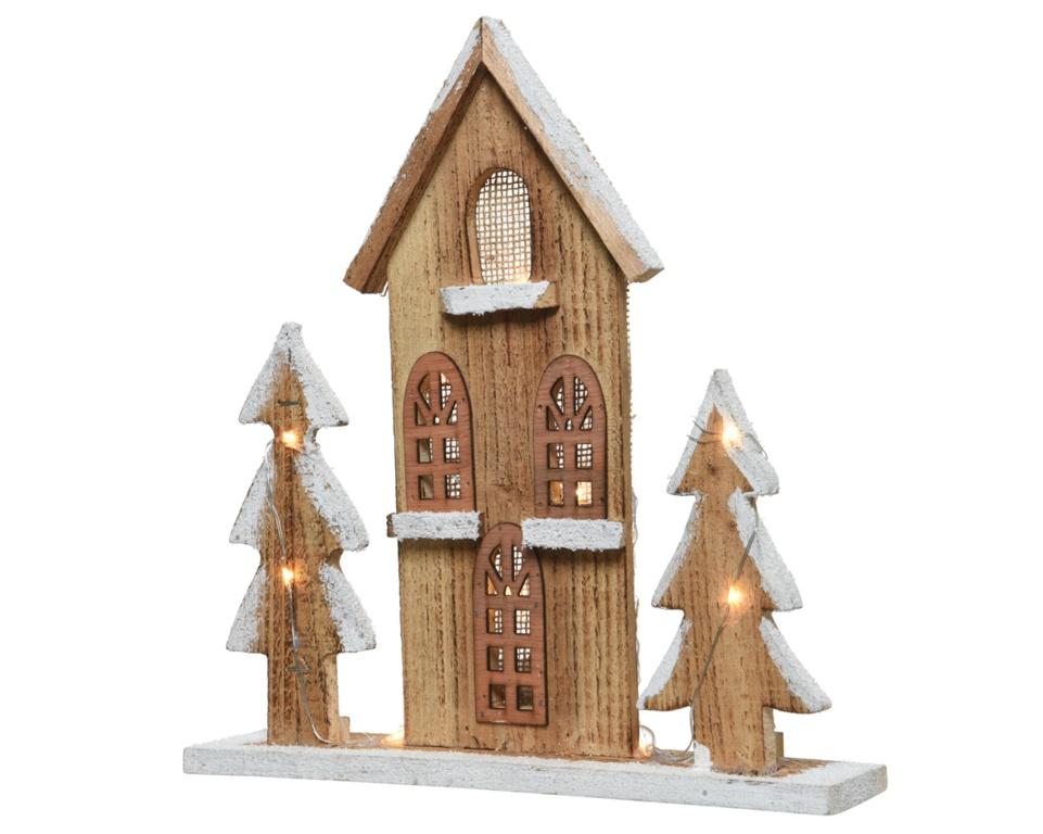 Kaemingk LED Wooden House With Trees - Warm White