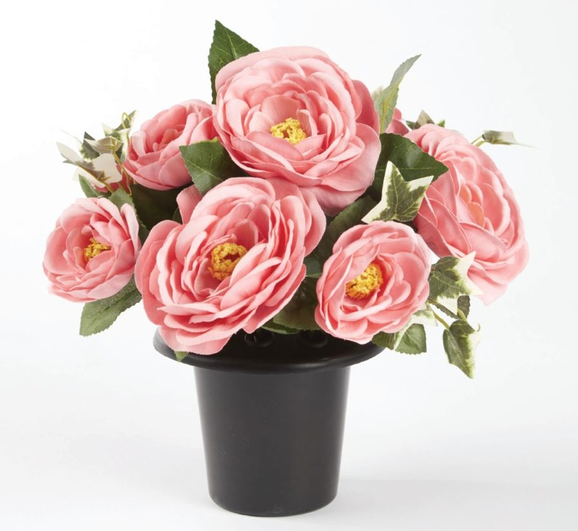 Smithers Oasis Grave Vase Container - Black/Pink