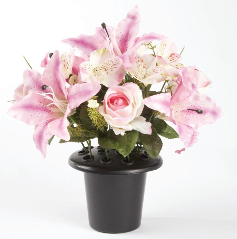 Smithers Oasis Grave Vase Container - Black/Pink/White