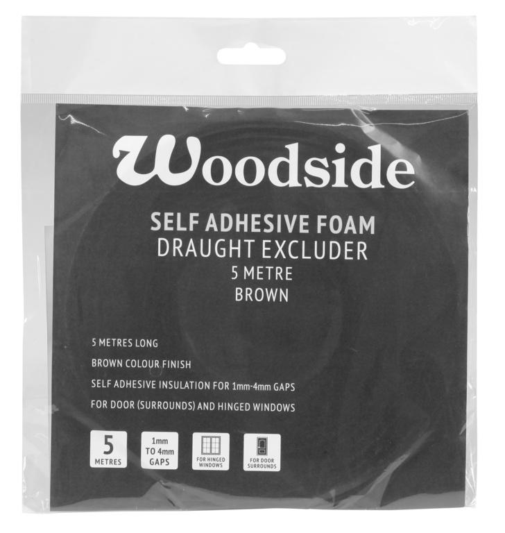 Woodside Self Adhesive Foam Draught Excluder - 5m Brown