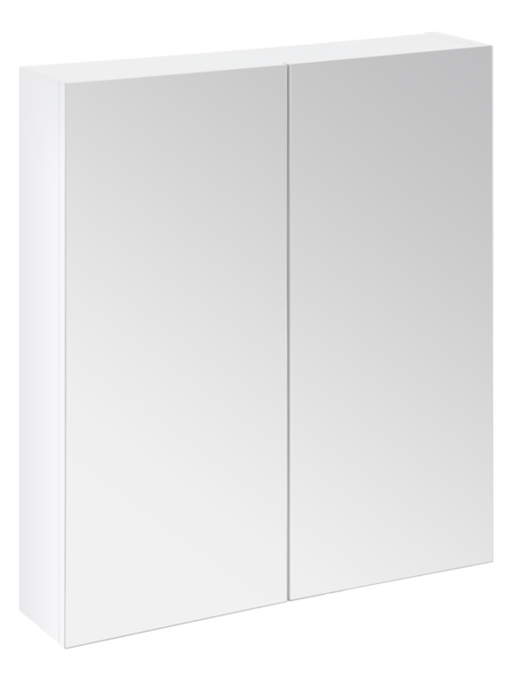 SP Avalon Gloss White Wall Hung 2 Door  Mirror Cabinet - 600mm