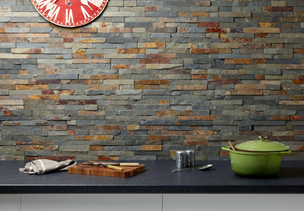 Verona Split Face Slate Cladding - Multi Coloured 100 x 360mm
