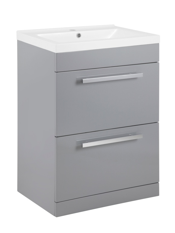 SP Avalon 2 Drawer Grey Basin Unit - 600mm