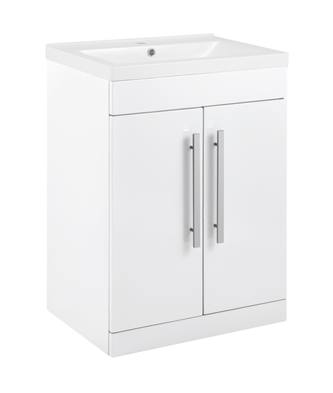 SP Avalon 2 Door Gloss White Basin Unit - 600mm