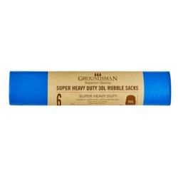 Groundsman Super Heavy Duty Rubble Sacks 30L Roll of 6