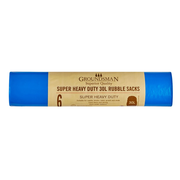 Groundsman Super Heavy Duty Rubble Sacks - 30L Roll of 6