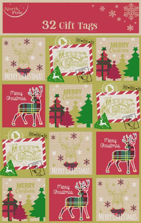 North Pole Tartan Gift Tags - Pack 32