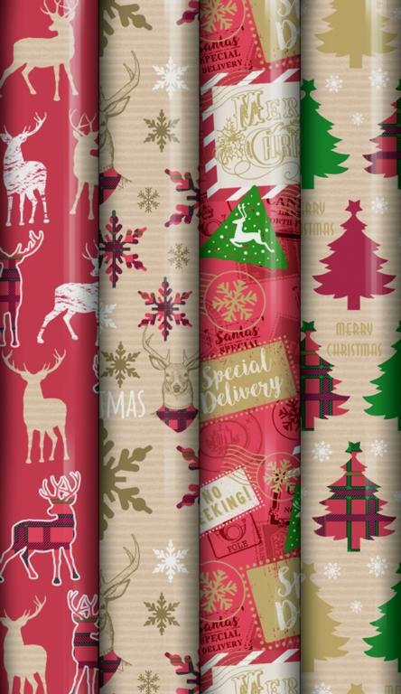North Pole Tartan/Kraft Wrap - 8m