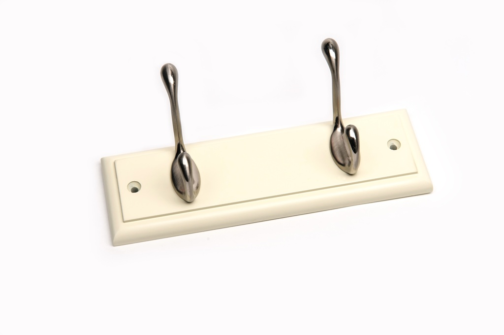 Headbourne Cream Board Satin Nickel Hook - 2 Hook