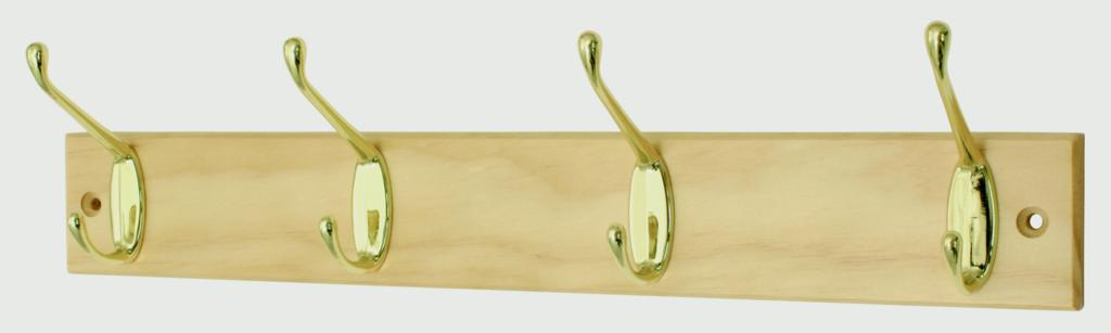 Headbourne Pine Board Brass Hook - 4 Hook