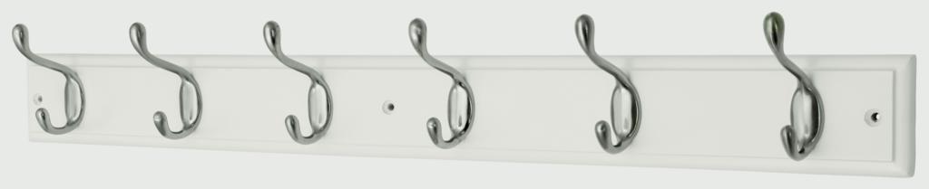 Headbourne White Board Satin Nickel Hook - 6 Hook