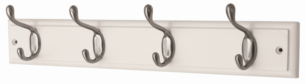 Headbourne White Board Satin Nickel Hook - 4 Hook