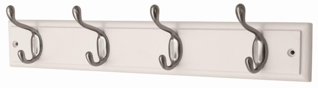 Headbourne White Board Satin Nickel Hook - 4 Hook