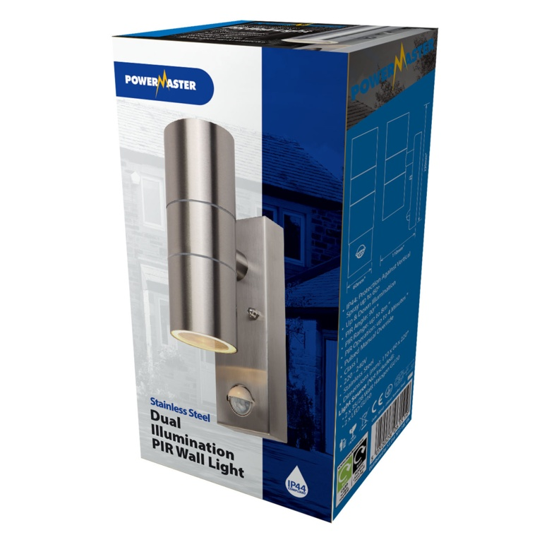 Powermaster PIR Twin Wall Spotlight IP44 - Stainless Steel
