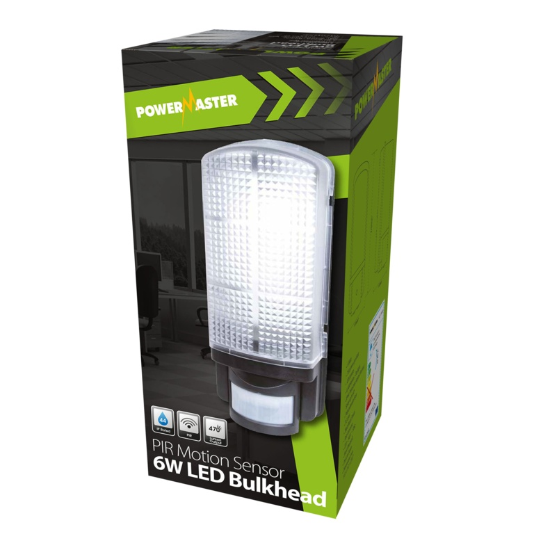 Powermaster LED PIR Bulkhead IP44 - 6w 6400k
