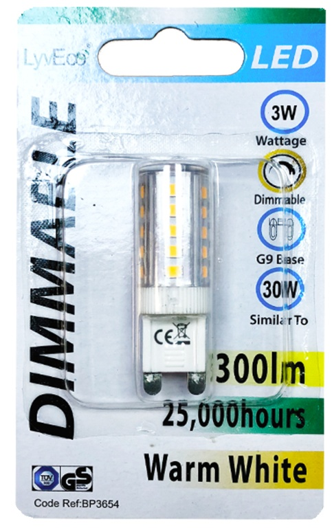 Lyveco LED Dimmable Lamps G9 - 3w/300ml/4000k