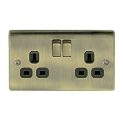 BG 2 Gang Socket - Antique Brass
