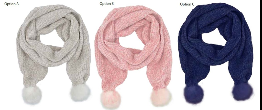 RJM Ladies Chenille Scarf With Fur