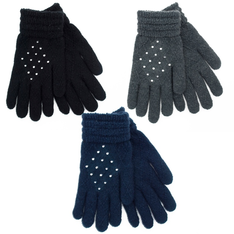 RJM Ladies Gloves With Diamantes