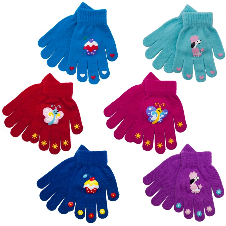 RJM Girls Thermal Magic Gloves - Rubber Print