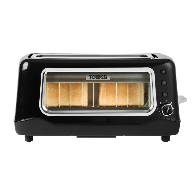Tower Long Slot Glass Toaster - 2 Slice