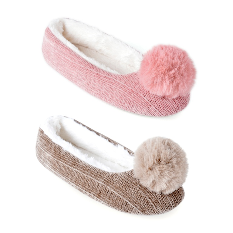 Slumberzzz Ladies Chenille Ballet Slipper